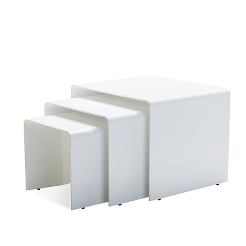 TUNNEL SIDE TABLES WHITE SET-3 [OUTDOOR SAFE]