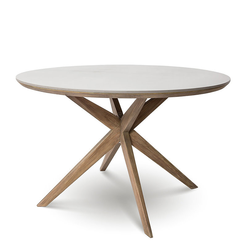 DANE DINING TABLE ROUND CEMENT AND WOOD [OUTDOOR SAFE]