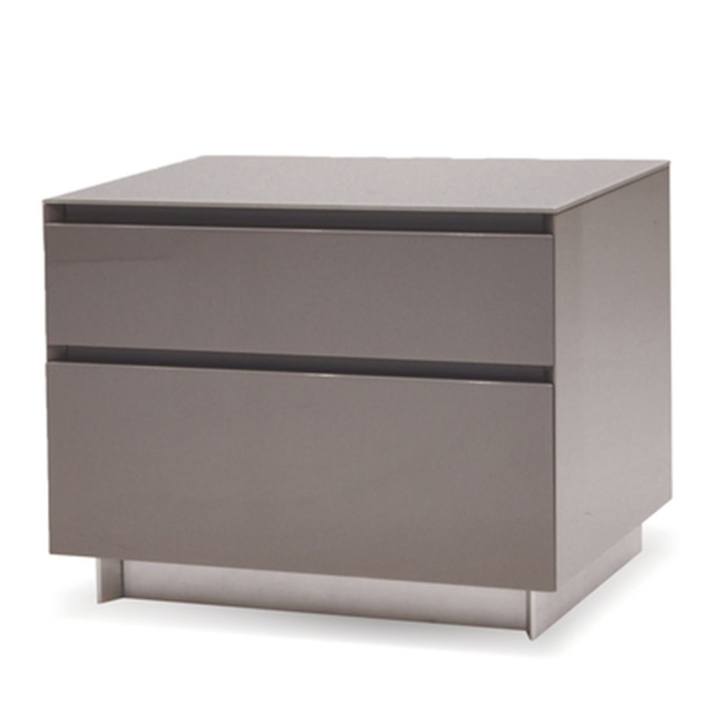AUGUST 2 DRAWER NIGHTSTAND LACQUER GREY