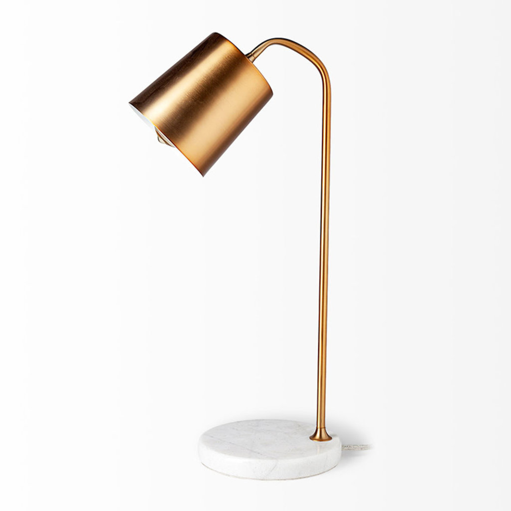 METRO TABLE LAMP BURNISHED GOLD AND MARBLE BASE