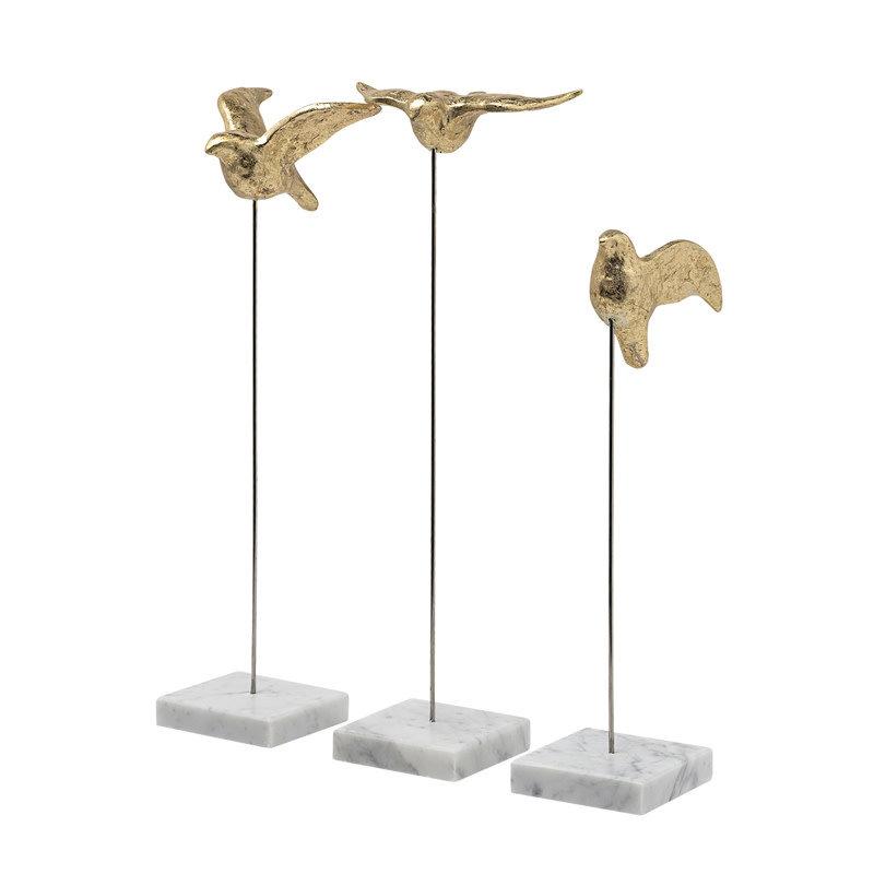 FREEDOM BIRDS GOLD ON MARBLE BASE