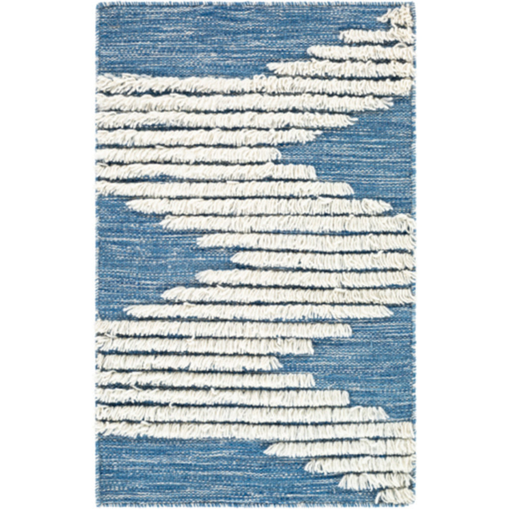 APACHE WOOL RUG 8' X 10' BLUE AND WHITE