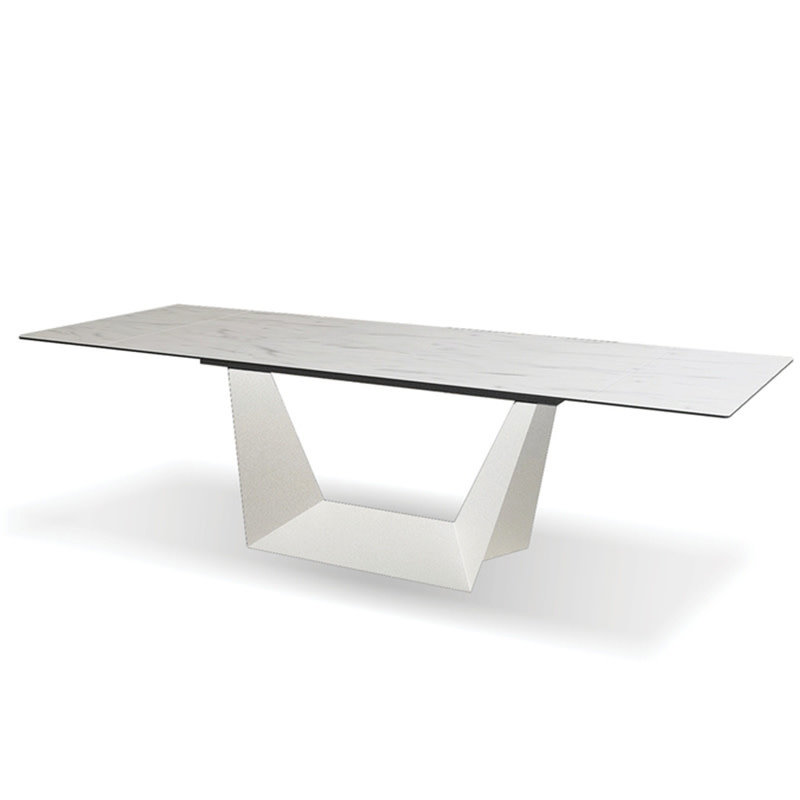 """MOBITAL PHOENIX CERAMIC EXTENSION DINING TABLE WHITE 62"""" TO 94"""
