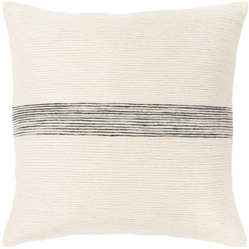 """CARINE BANDED PILLOW 22"""" OFF WHITE BLACK"""