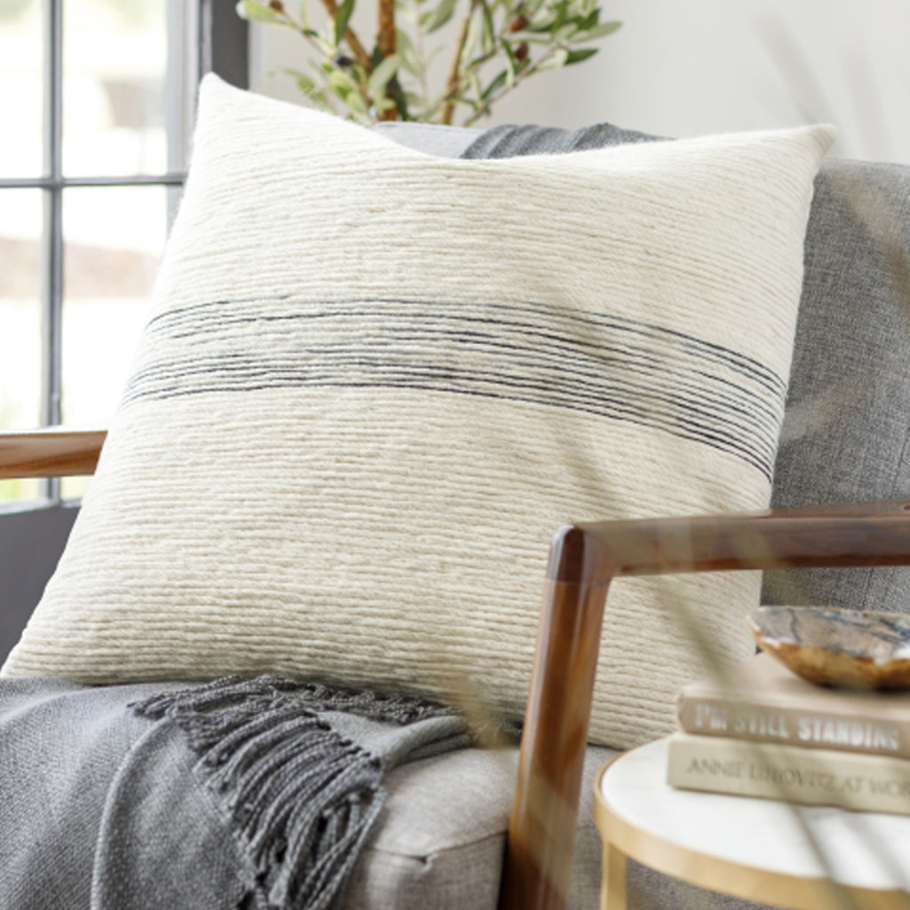 """CARINE BANDED PILLOW 18"""" OFF WHITE BLACK"""