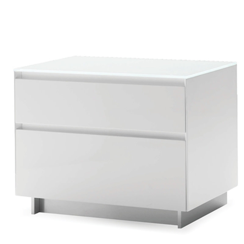 AUGUST 2 DRAWER NIGHTSTAND LACQUER WHITE
