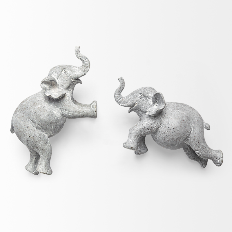 HARRY ELEPHANTE WALL DECOR LIGHT GREY - SET 2