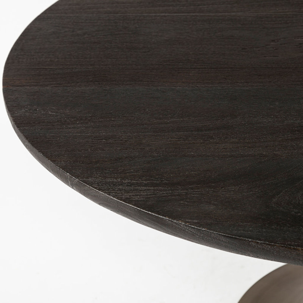 """GOTHENBURG DINING TABLE 54"""" ROUND BLACK AND GOLD"""