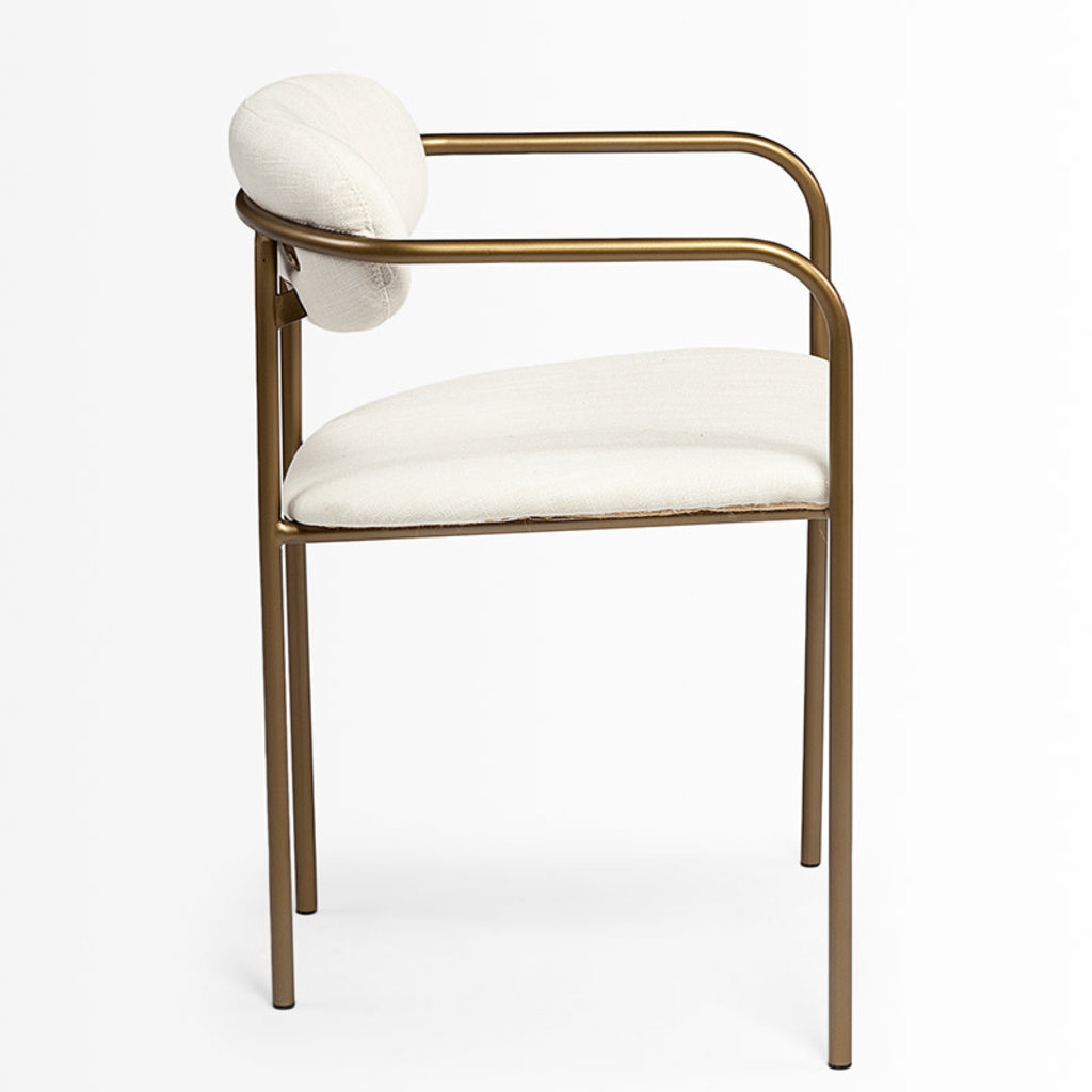 ISADORA ARMCHAIR OFF WHITE AND BURNISED GOLD