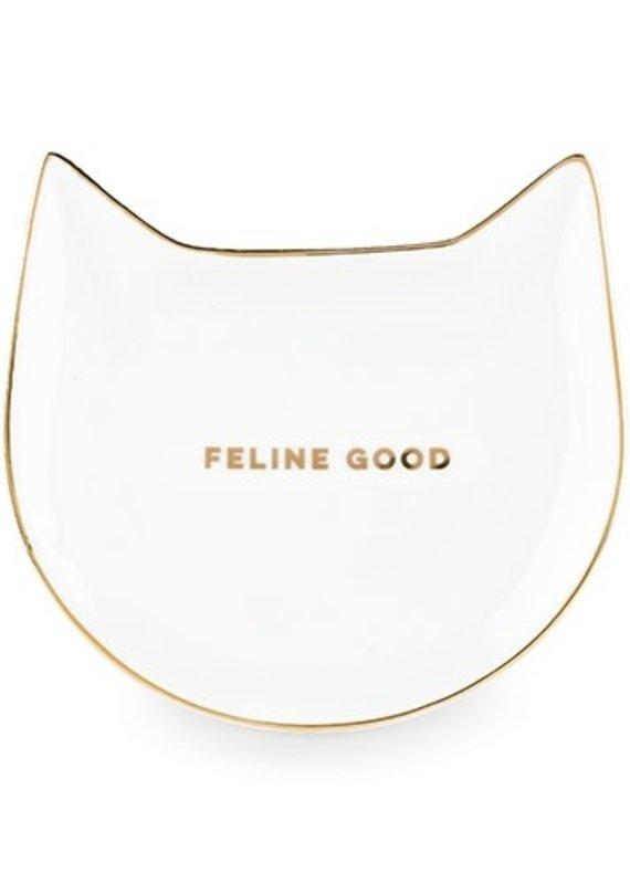 Feline Good: White Cat Tea Tray