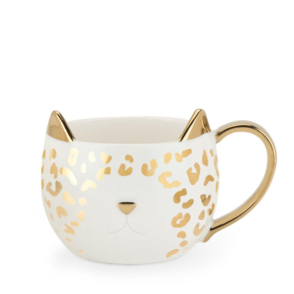 Chloe: White Leopard Cat Mug by Pinky Up