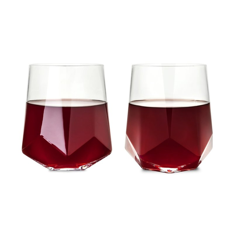 Viski Raye: Faceted Crystal Wine Glass (Set of 2) by Viski