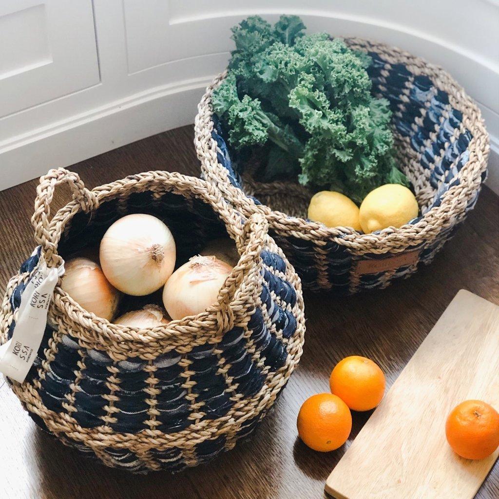 Korissa Daya Denim Foldable Basket Set of 2