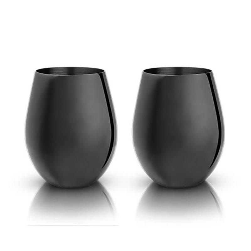 Viski Gunmetal Black Stemless Wine Glasses (set of 2)