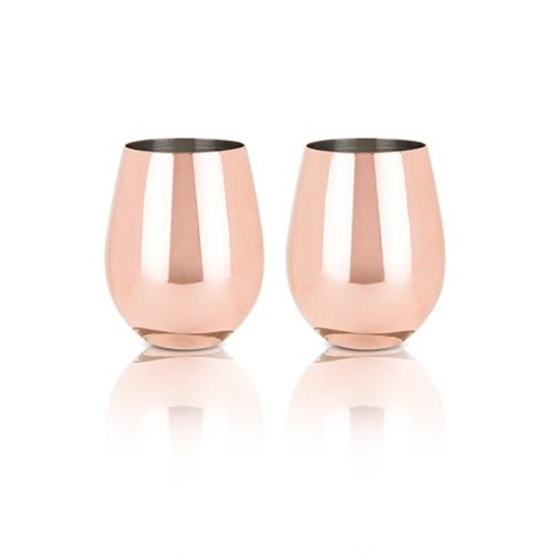 Viski Summit Copper Stemless Wine Glasses (VISKI)