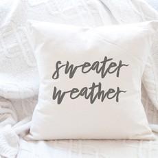 Indigo Tangerine Sweater Weather - Cotton Canvas Pillow