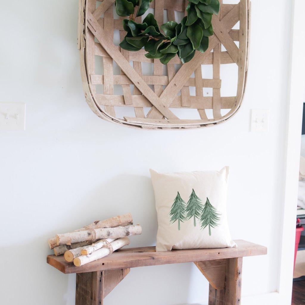 Indigo Tangerine Three Trees - Cotton Canvas Pillow