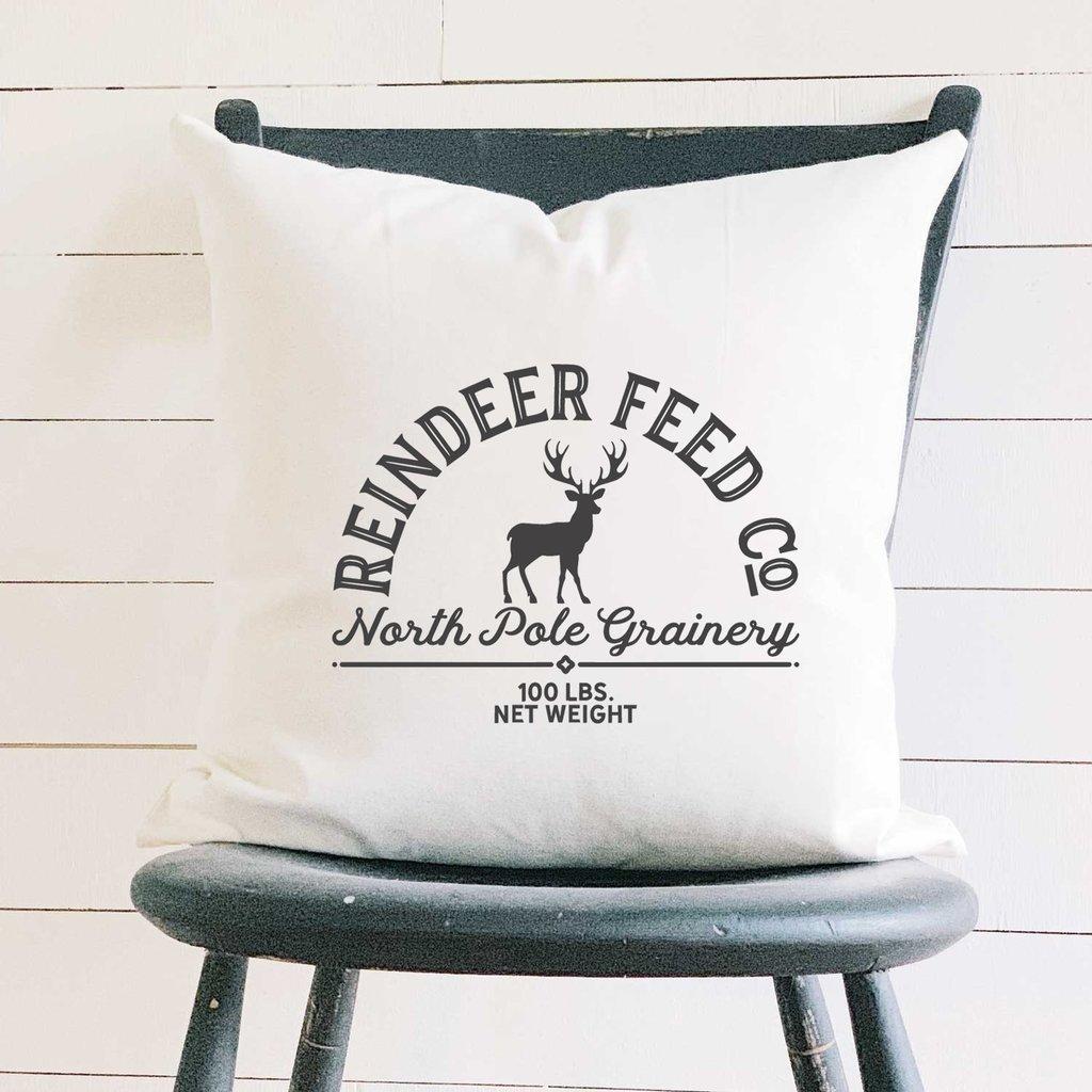 Indigo Tangerine Reindeer Feed Co - Cotton Canvas Pillow