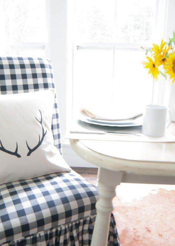 Indigo Tangerine Antlers - Cotton Canvas Pillow