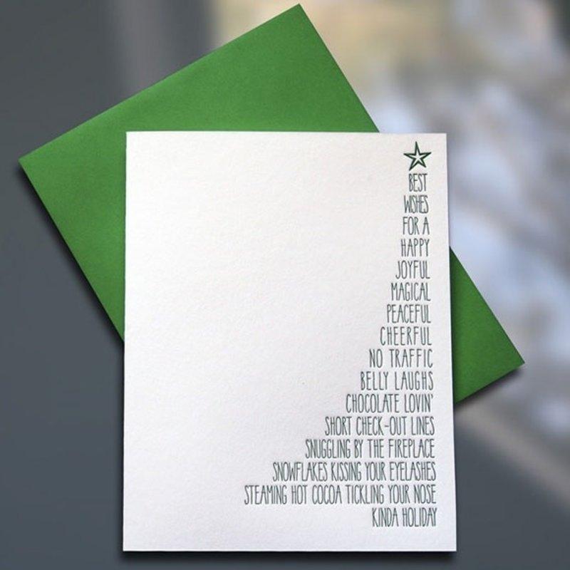 Sky of Blue Cards Xmas Tree List Card - Box Of 6