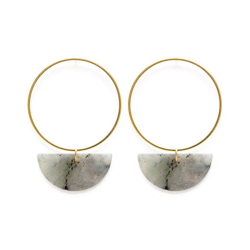 Amano Studios Sun and Moon Stud Earrings in Labradorite