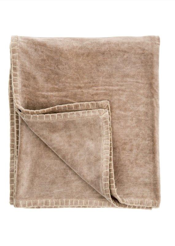 Indaba Velvet Blanket Stitch Throw, Taupe