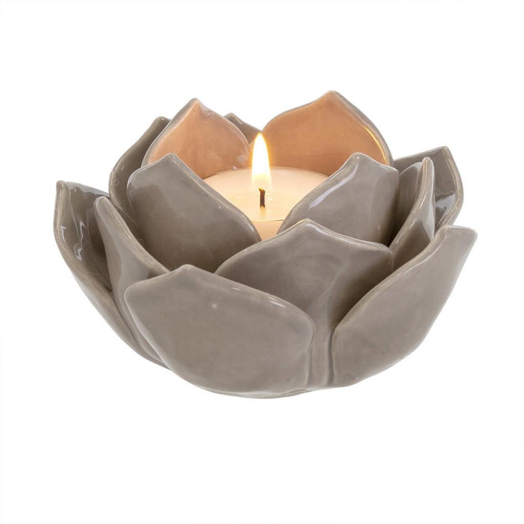 Fall Fleur Tealight, Grey
