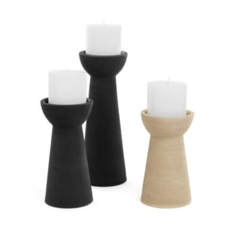 The Pine Centre JUNA LG CER CANDLE HOLDER BLK