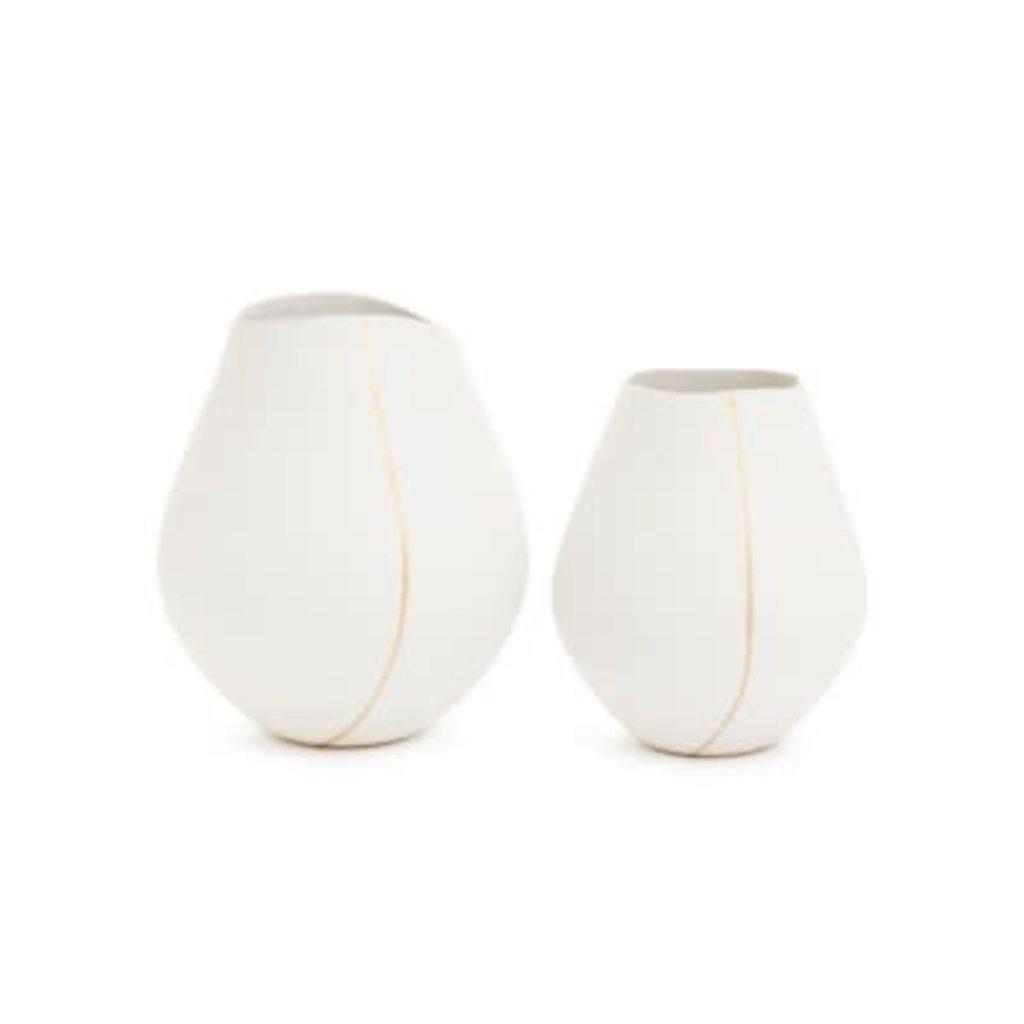 The Pine Centre Merrill - Large Ceramic Vase White/Gold