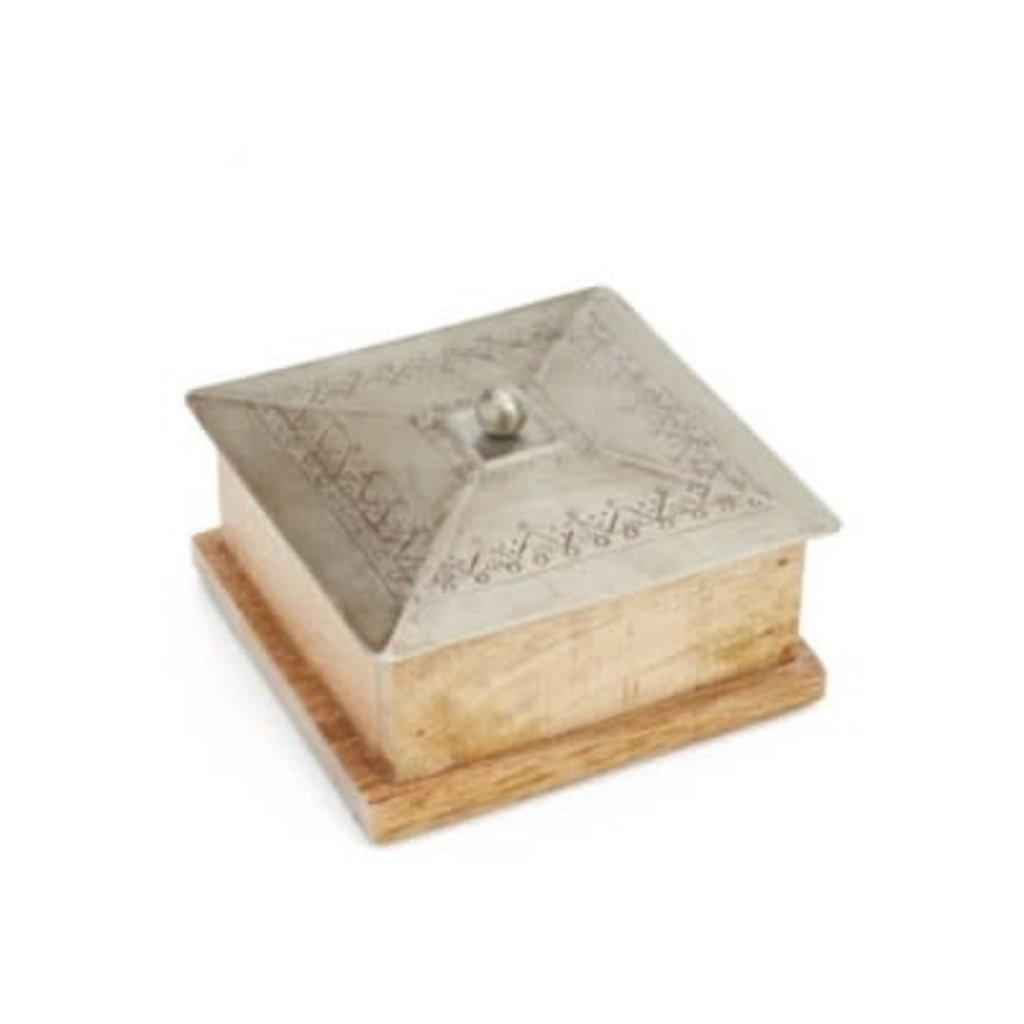 Wood Box - Iron Lid NAT/NKL 5X5X3