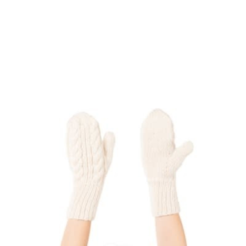 Pokoloko Hand-Knit Alpaca-Mittens-Ivory