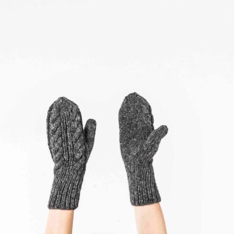 Pokoloko Hand-Knit Alpaca-Mittens-Charcoal