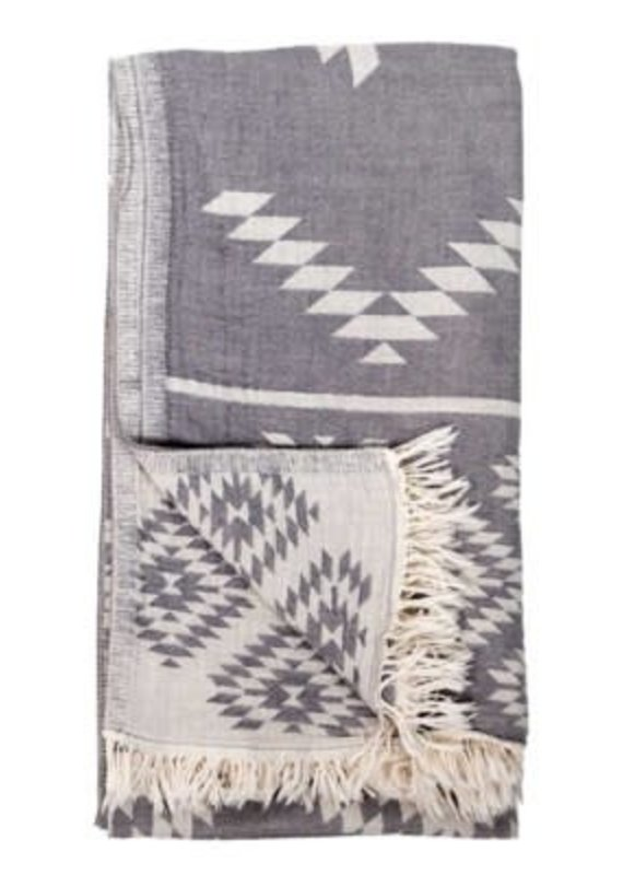 Pokoloko Turkish Towel - Geometric Spanish Grey