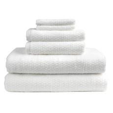 Diamond Jacquard 6 Piece Bath Towel Set: White