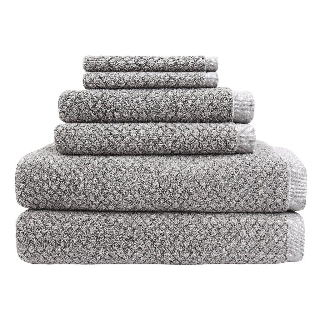 Chip Dye Bath Towel 6 Piece Bath Towel Set: Granite