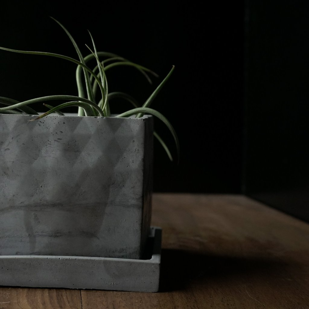 Square Planter with Tray Charcoal