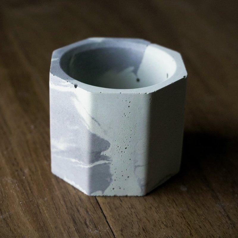 Octagon Teal Light Holder Marble