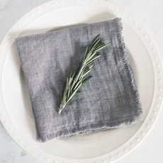 Creative Women Stone Washed Linen Cocktail Napkin: Grey