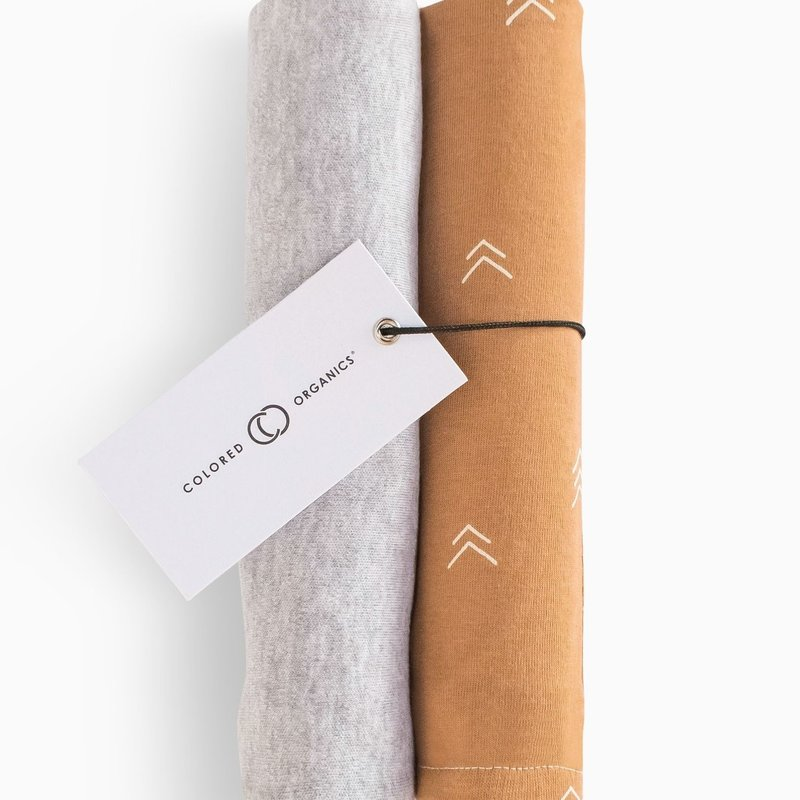 Colored Organics Burp Cloth (2-pack) - Heather Grey and Ginger Peak