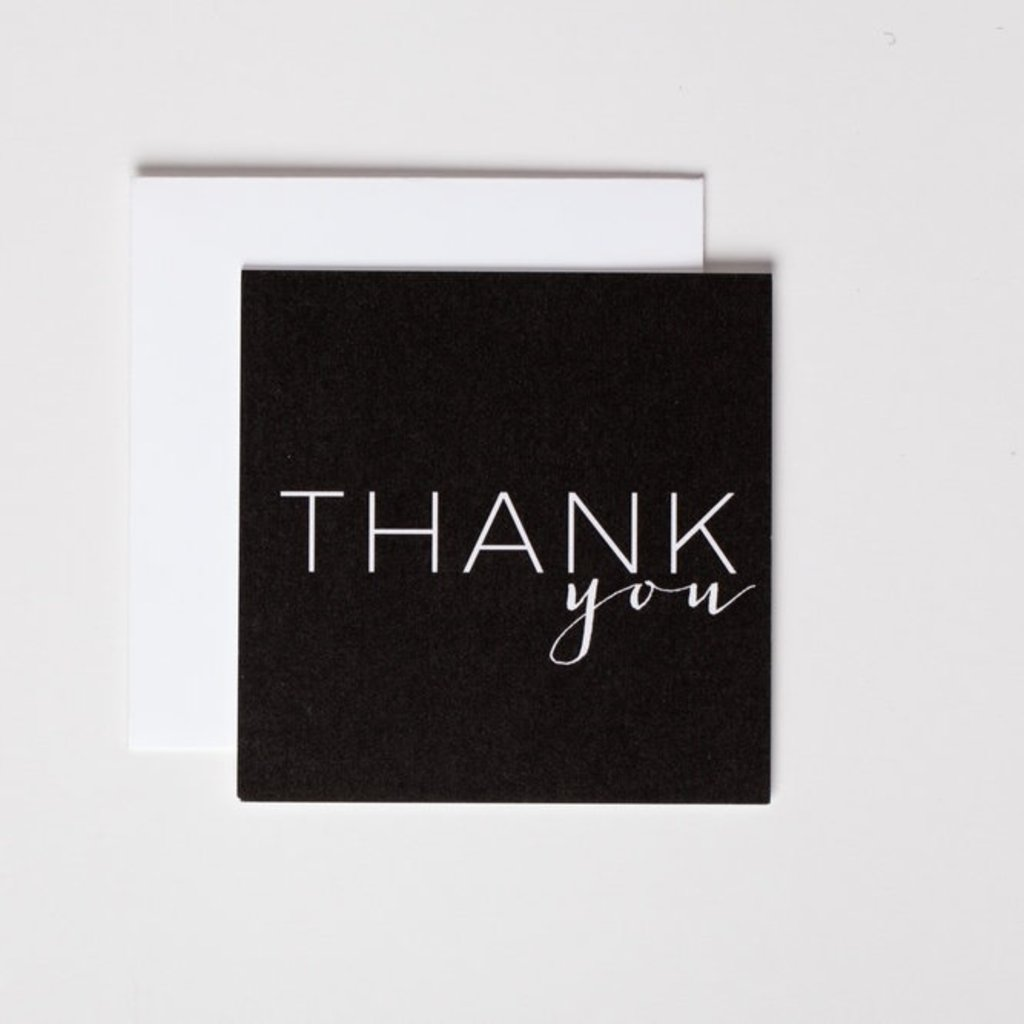Wrinkle and Crease Paper Products Thank You - Black Mini Notecard