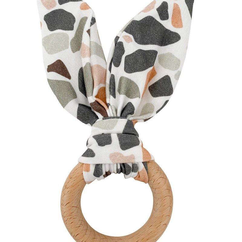 Chewable Charm Crinkle Bunny Ears Teether- Terrazzo