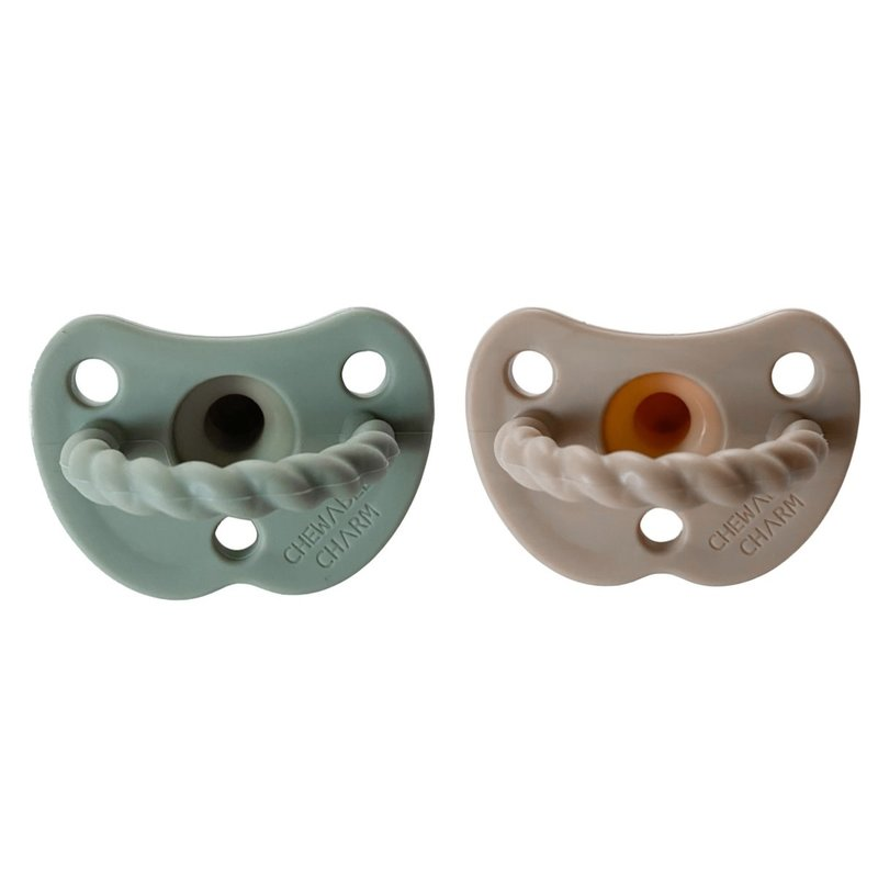 Chewable Charm 2 Pack Pacifier + Twirl   Sage + Almond