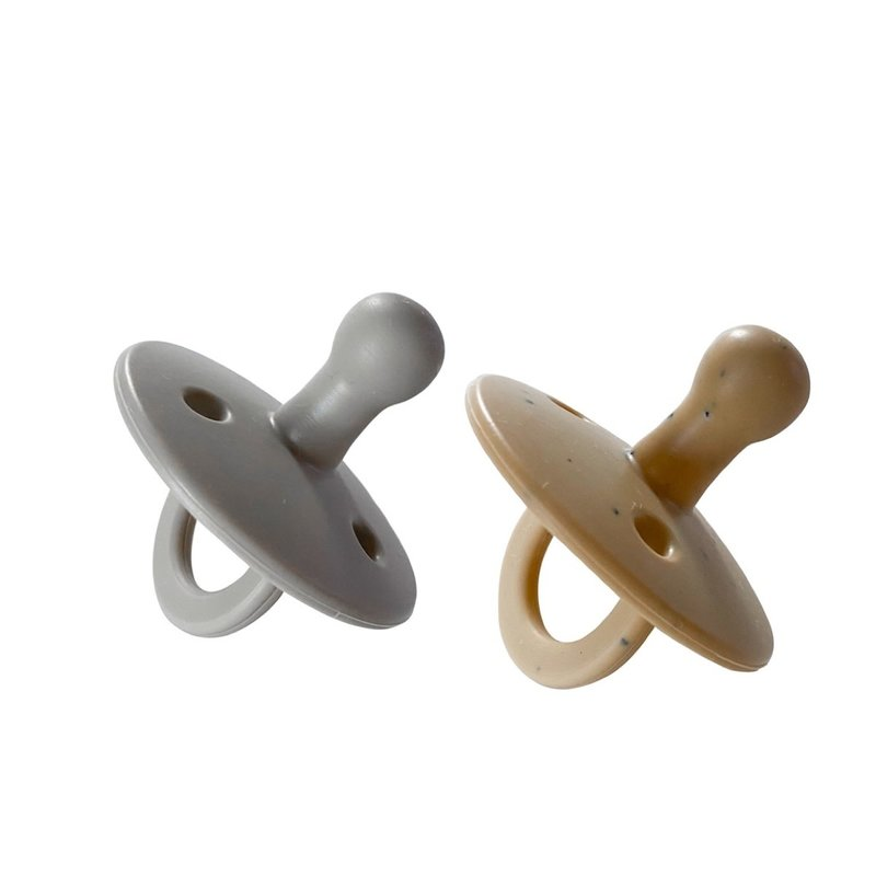 Chewable Charm 2 Pack Pacifier   Grey + Tan Speckle
