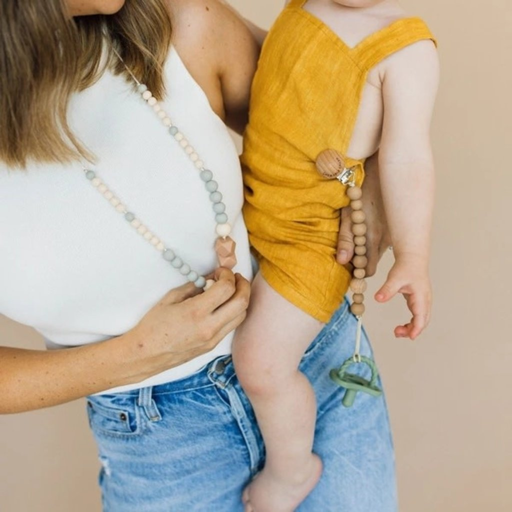 Chewable Charm Classic Pacifier Clip - Wood + Heava Natural Rubber