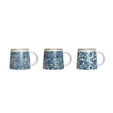 Creative Coop HAND-STAMPED STONEWARE MUG, BLUE & WHITE, 3 STYLES