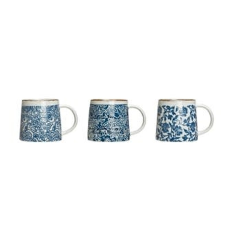 Creative Coop HAND-STAMPED STONEWARE MUG, BLUE & WHITE, 3 STYLES