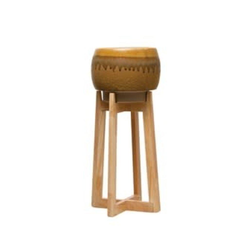 Creative Coop Round Stoneware Planter/Stand - Mustard, Set of 2