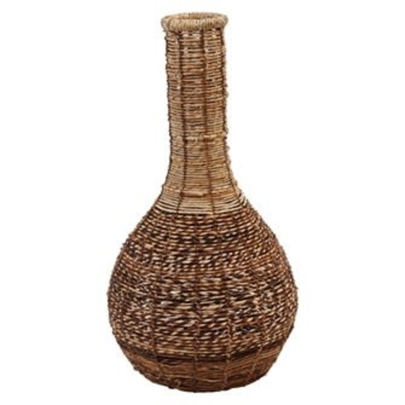 "Creative Coop 15"" Round Abaca & Seagrass Floor Vase"