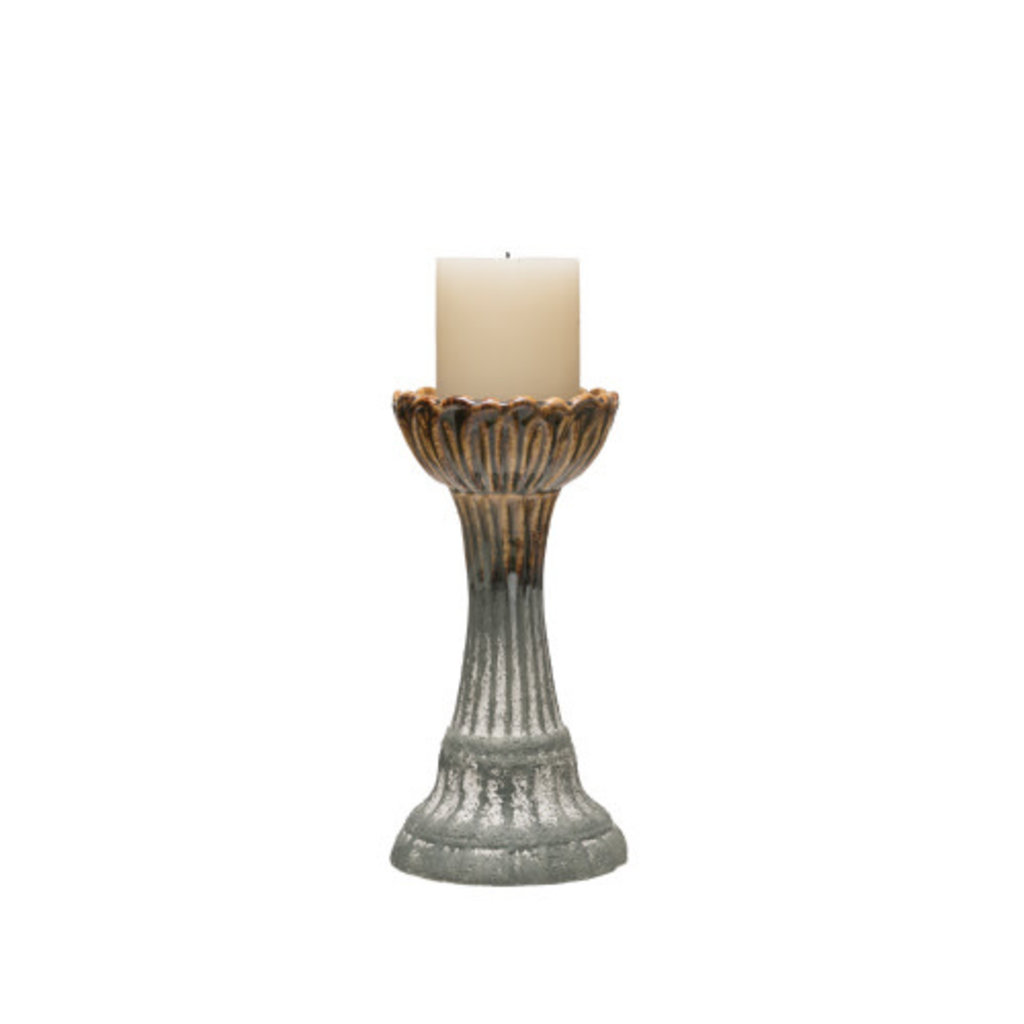 Creative Coop Round Stoneware Candle Holder - Grey