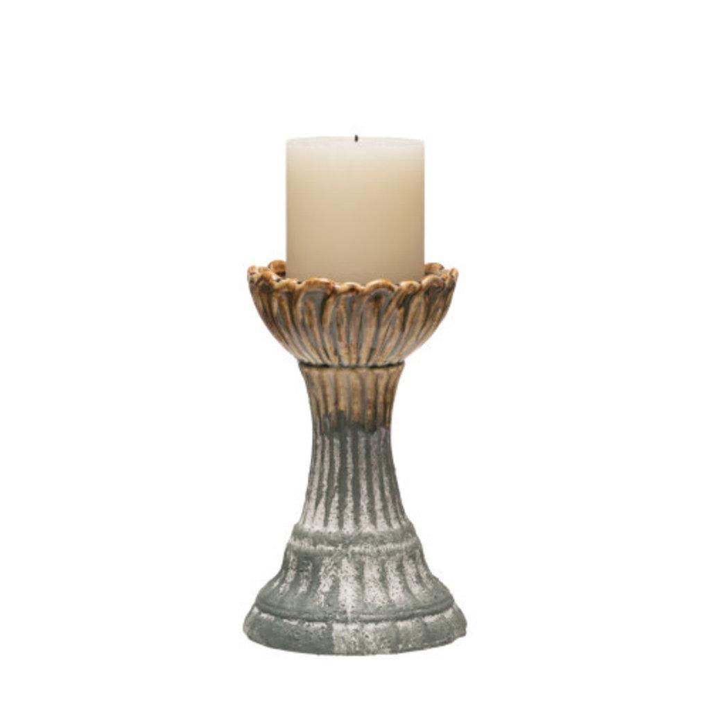 Creative Coop Round Stoneware Candle Holder, Grey